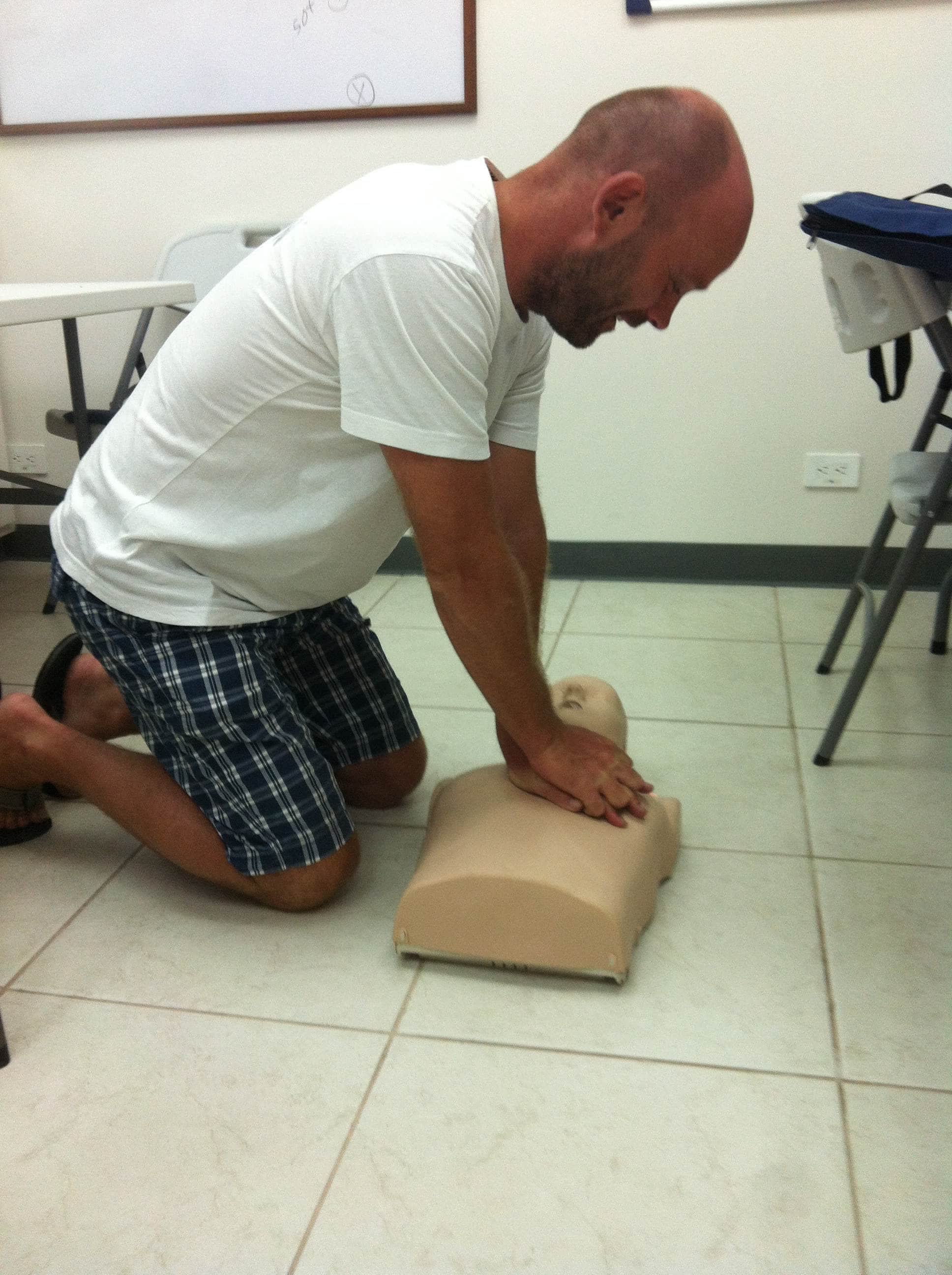 Practicing chest compressions