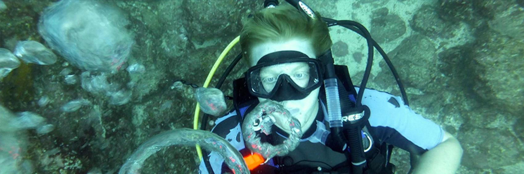 Fun underwater scuba diving