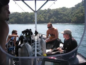 briefing on the dive boat