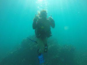Divemaster in training underwater costa rica